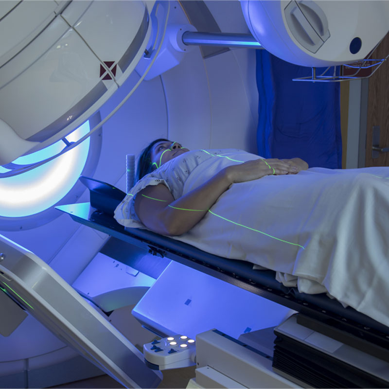 Woman Receiving Radiation Therapy Treatments for Breast Cancer